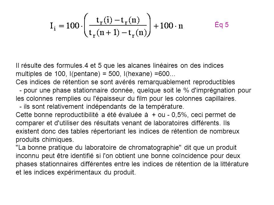 Éq 5 Il résulte des formules.4 et 5 que les alcanes linéaires on des indices multiples de 100, I(pentane) = 500, I(hexane) =600...