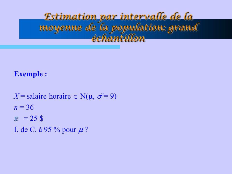 Estimation par intervalle de la moyenne de la population: grand échantillon