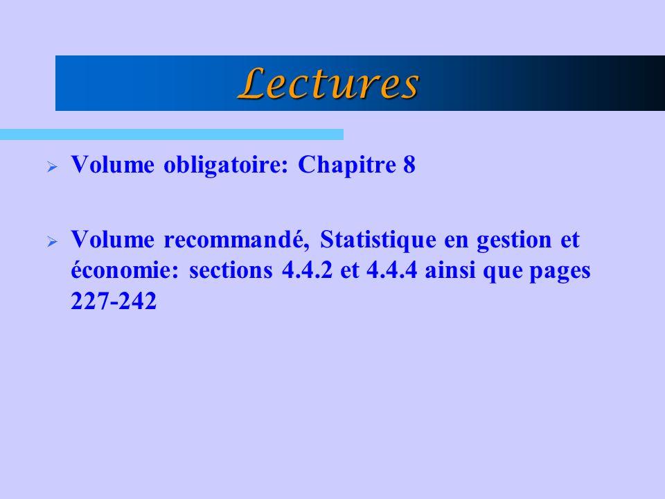 Lectures Volume obligatoire: Chapitre 8