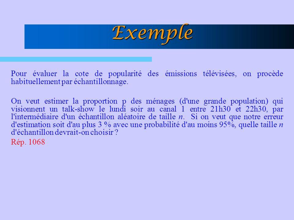 Exemple Pour évaluer la cote de popularité des émissions télévisées, on procède habituellement par échantillonnage.