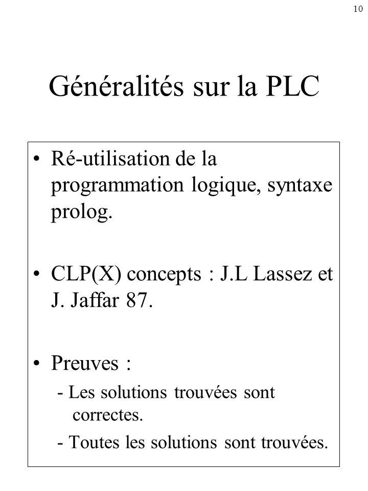 Généralités sur la PLC Ré-utilisation de la programmation logique, syntaxe prolog. CLP(X) concepts : J.L Lassez et J. Jaffar 87.