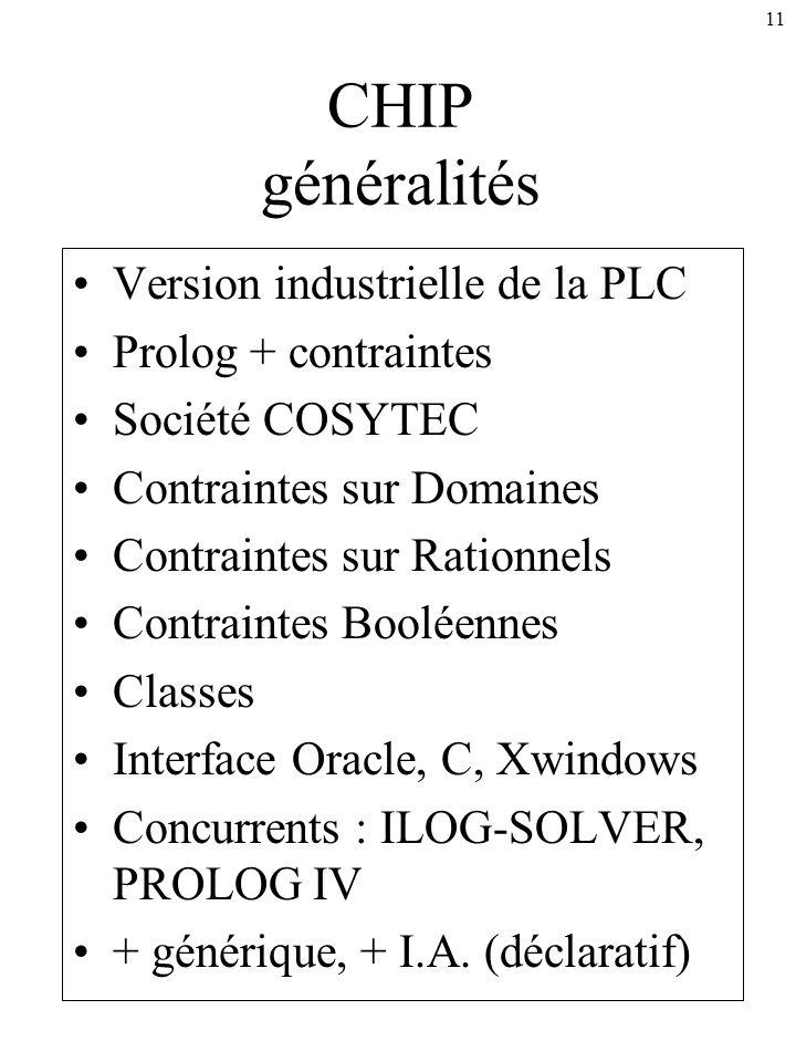 CHIP généralités Version industrielle de la PLC Prolog + contraintes