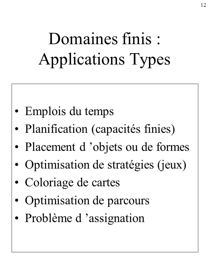 Domaines finis : Applications Types