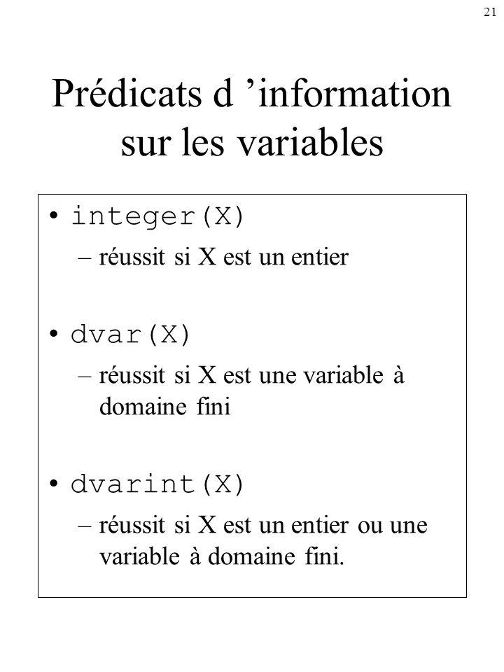 Prédicats d 'information sur les variables