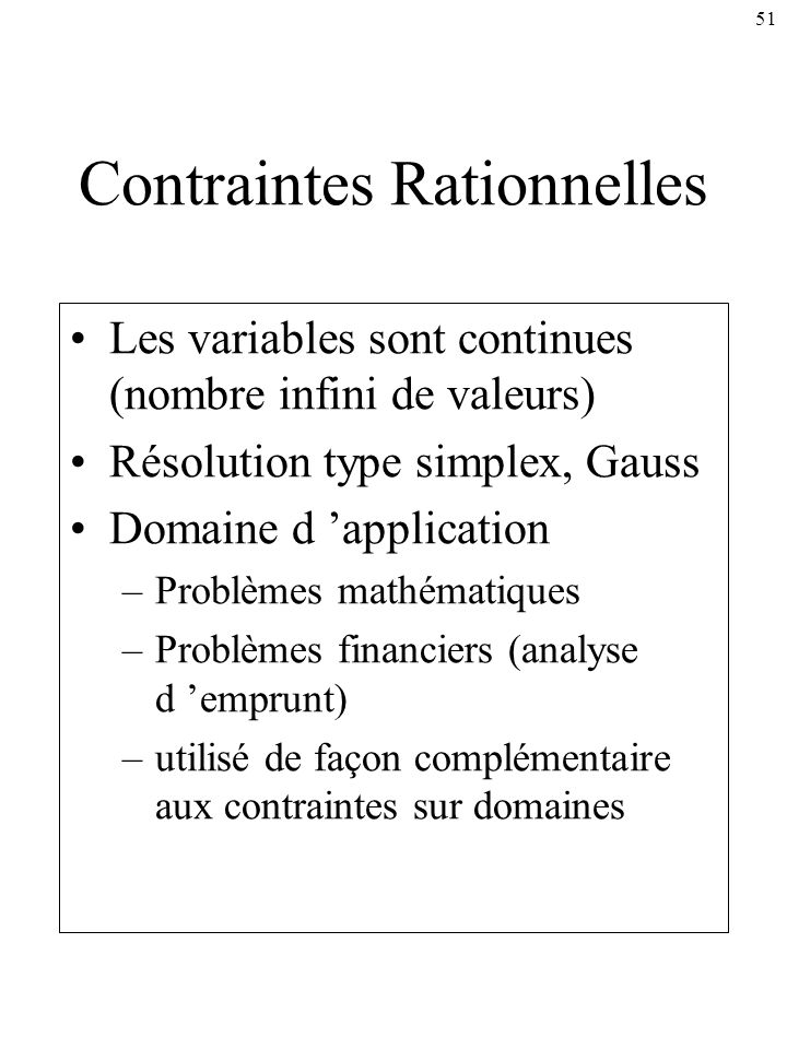 Contraintes Rationnelles