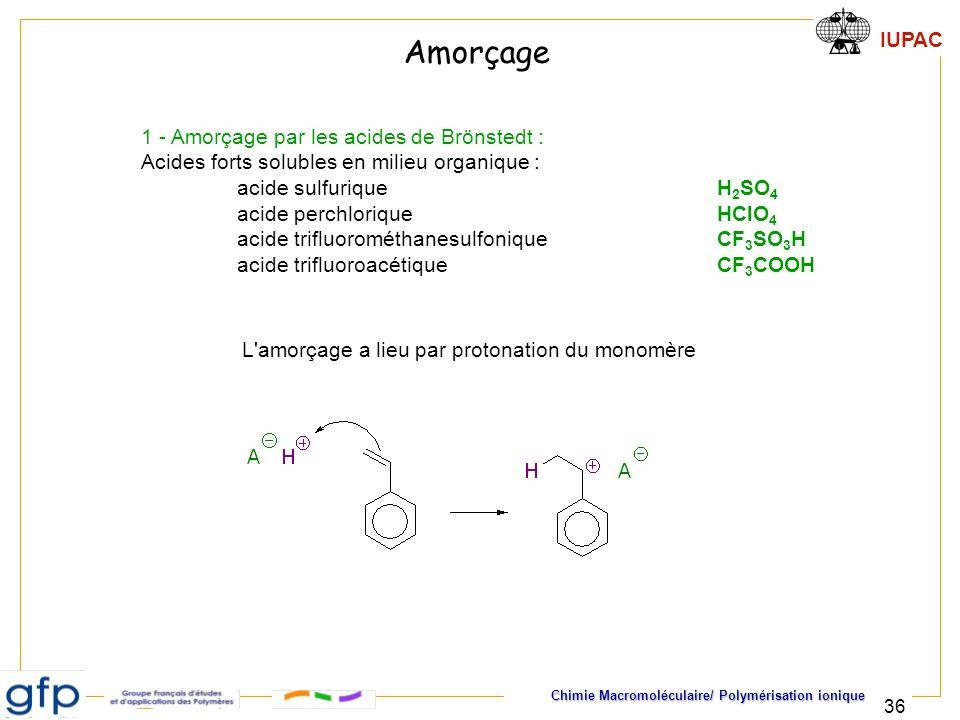Amorçage 1 - Amorçage par les acides de Brönstedt :