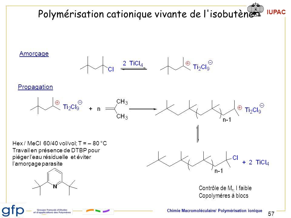 Polymérisation cationique vivante de l isobutène