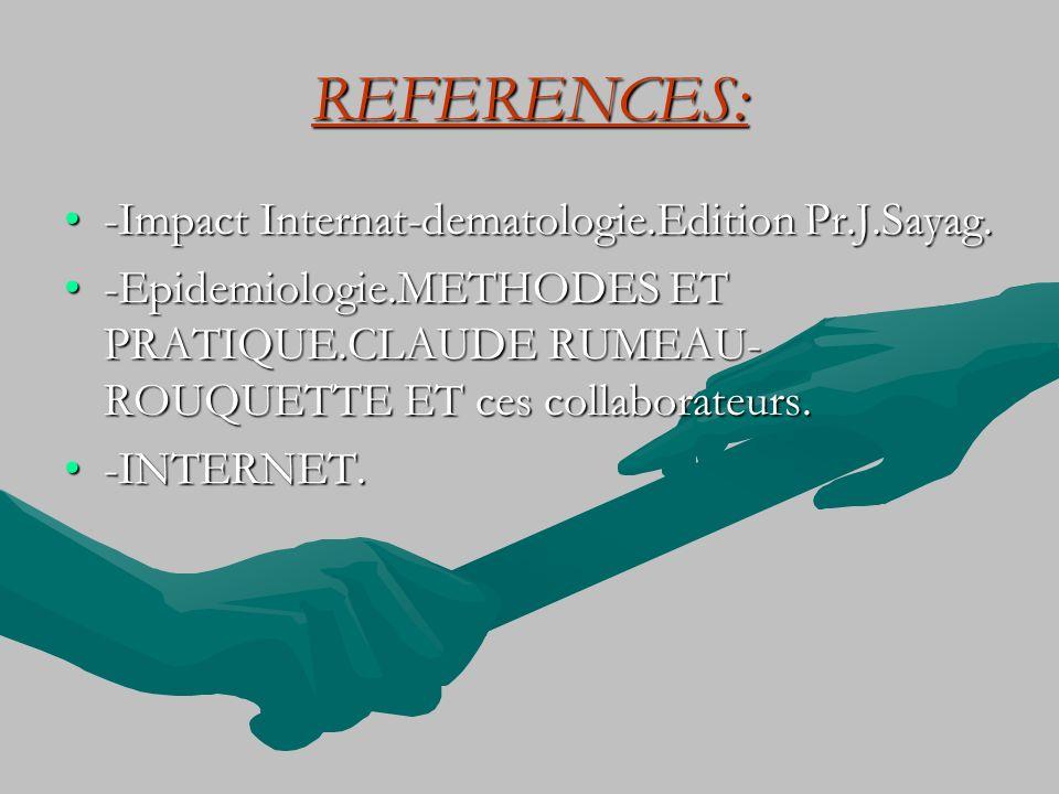 REFERENCES: -Impact Internat-dematologie.Edition Pr.J.Sayag.