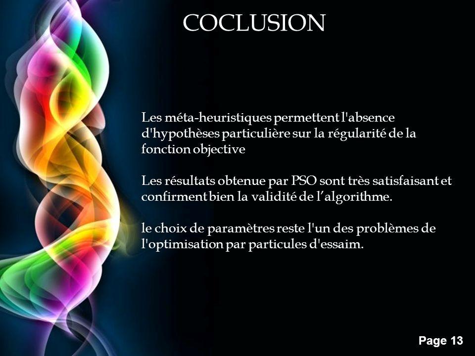 COCLUSION Les méta-heuristiques permettent l absence d hypothèses particulière sur la régularité de la fonction objective.