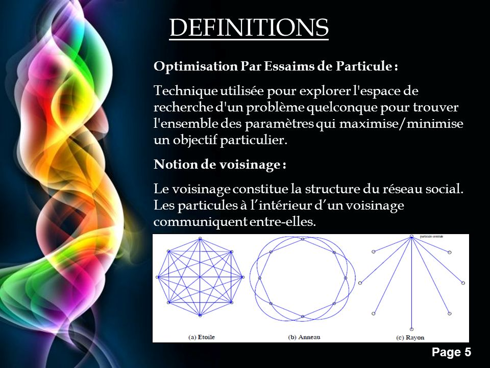 DEFINITIONS Optimisation Par Essaims de Particule :
