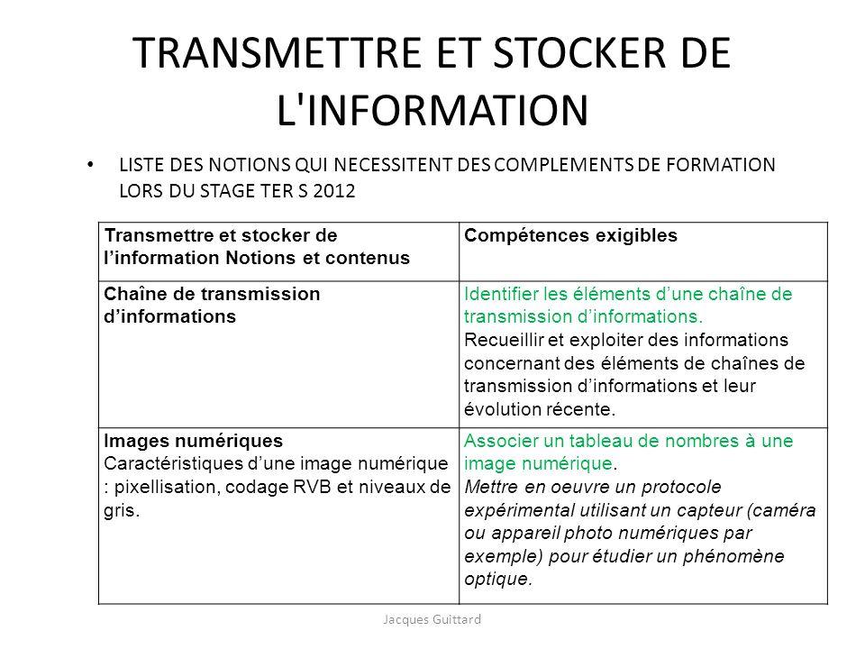 TRANSMETTRE ET STOCKER DE L INFORMATION