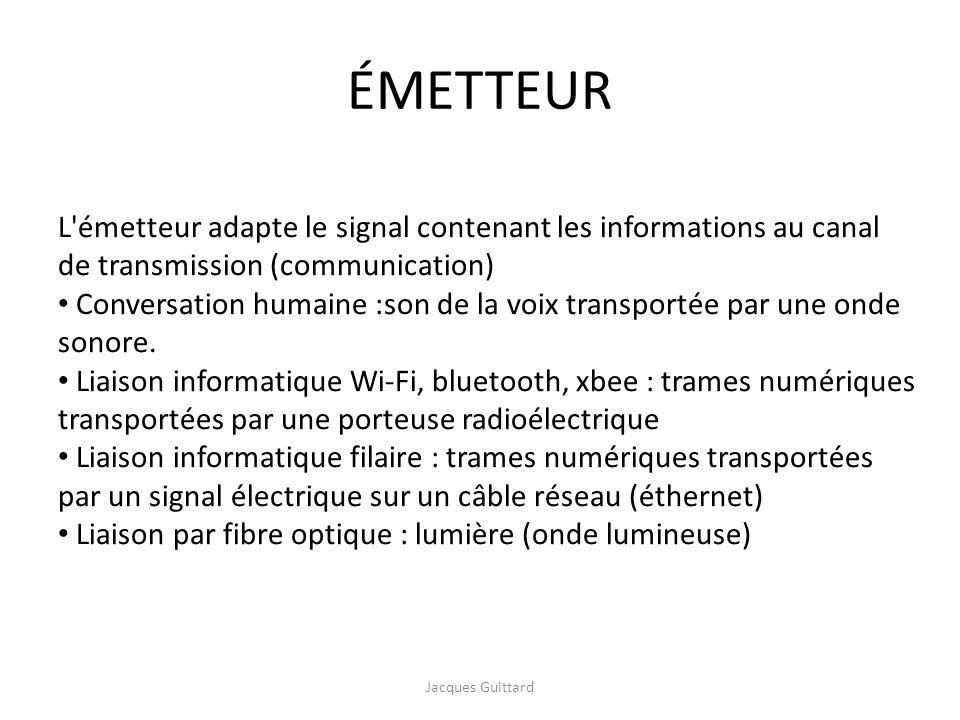 ÉMETTEUR L émetteur adapte le signal contenant les informations au canal de transmission (communication)