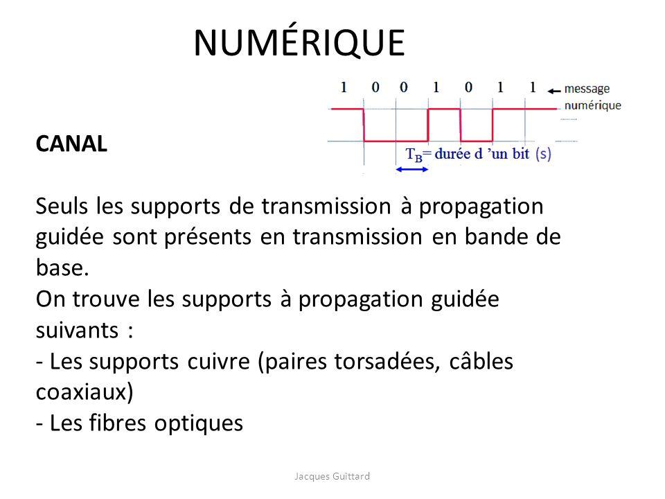NUMÉRIQUE CANAL. Seuls les supports de transmission à propagation guidée sont présents en transmission en bande de base.