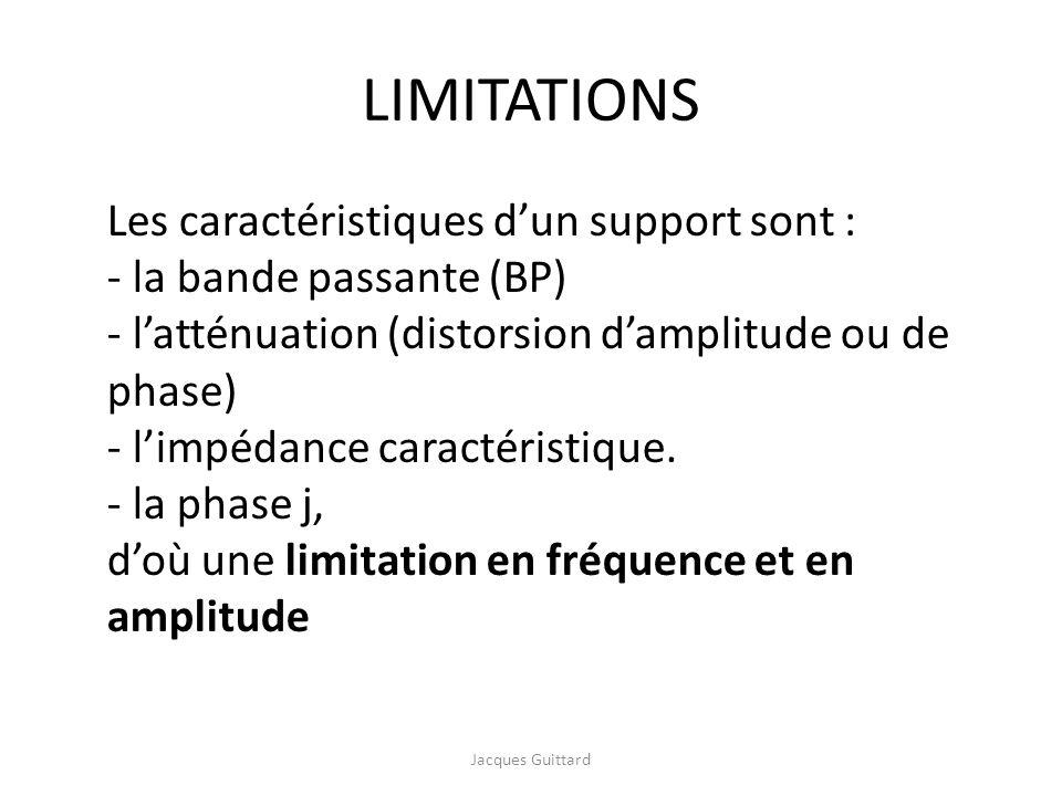 LIMITATIONS Les caractéristiques d'un support sont :