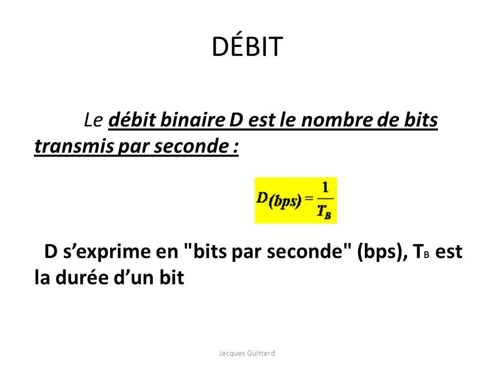 DÉBIT Le débit binaire D est le nombre de bits transmis par seconde :