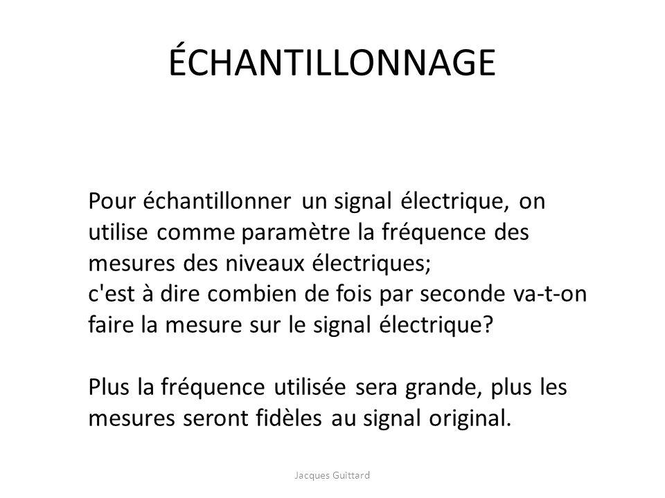 ÉCHANTILLONNAGE Pour échantillonner un signal électrique, on utilise comme paramètre la fréquence des mesures des niveaux électriques;