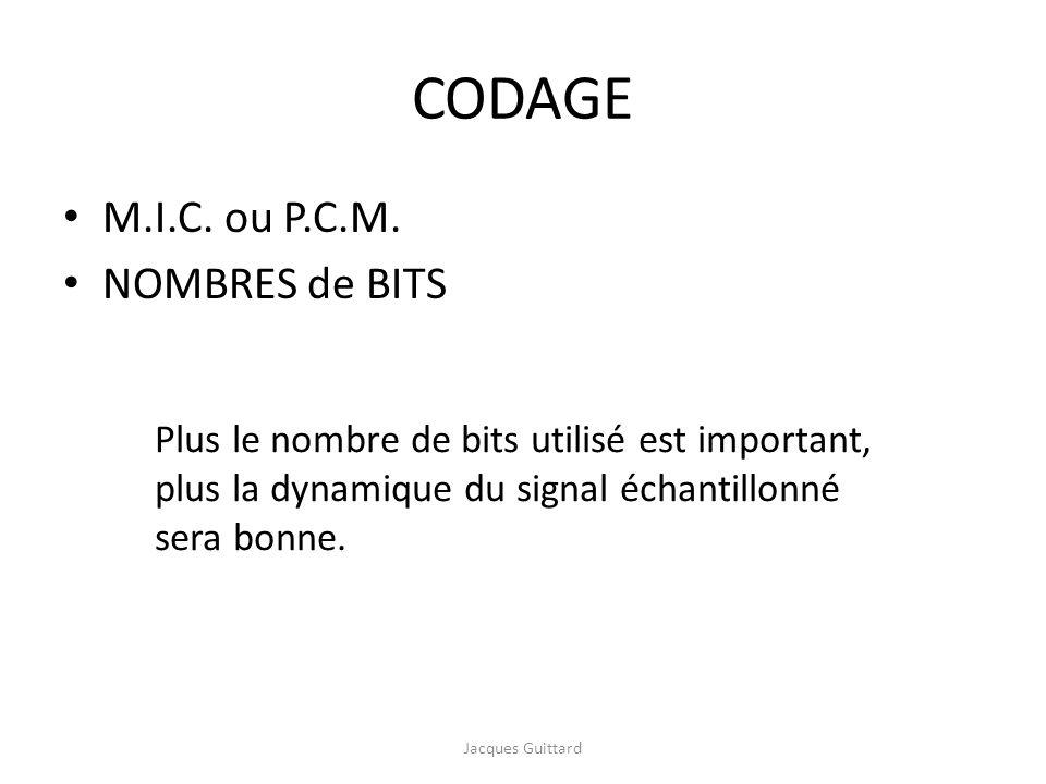 CODAGE M.I.C. ou P.C.M. NOMBRES de BITS