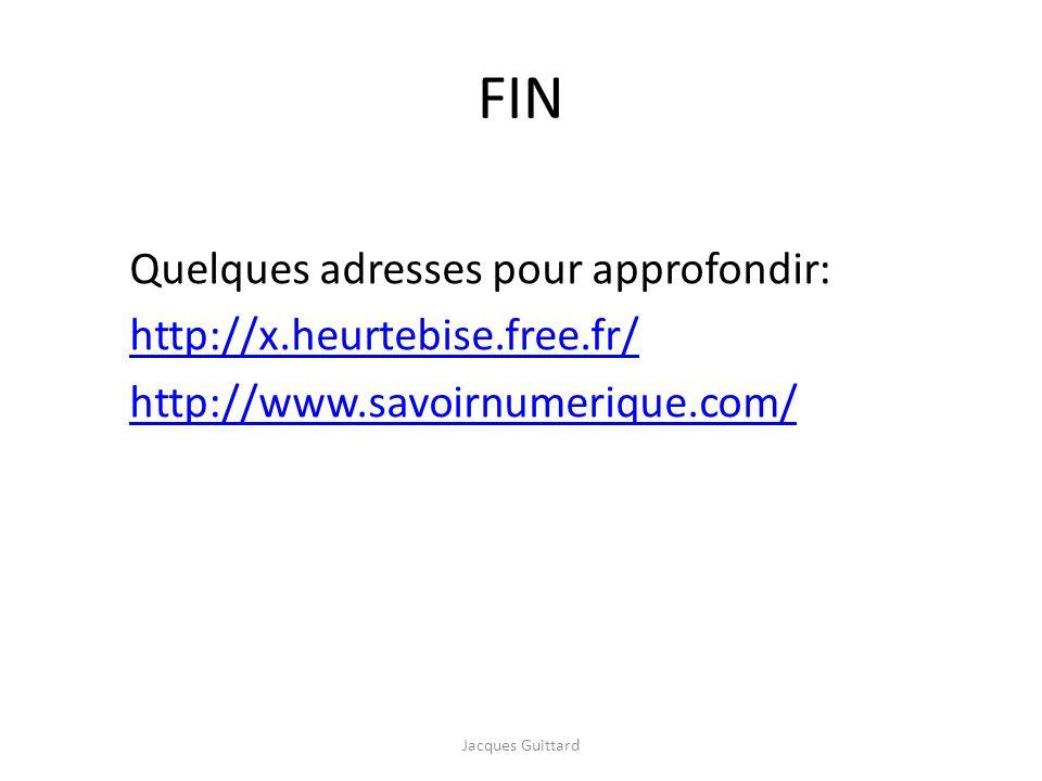 FIN Quelques adresses pour approfondir: http://x.heurtebise.free.fr/