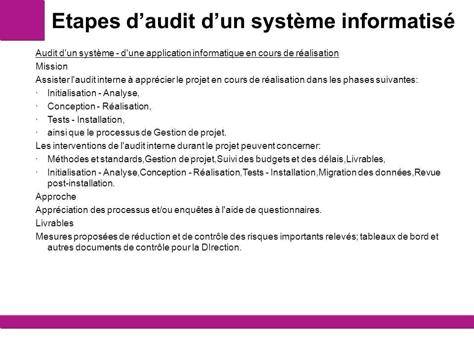 Etapes d'audit d'un système informatisé