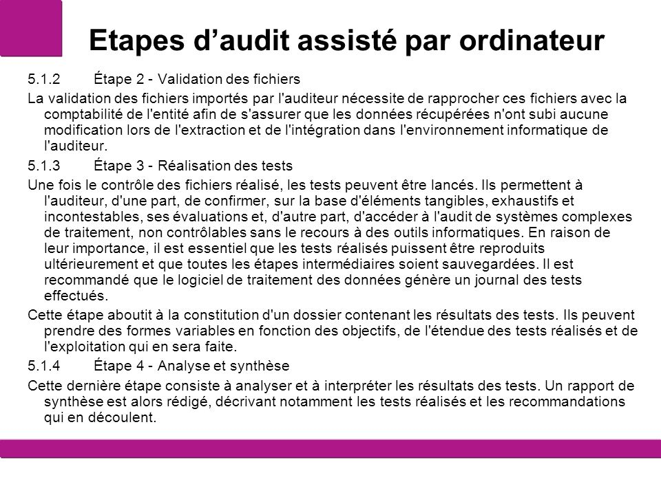 Etapes d'audit assisté par ordinateur