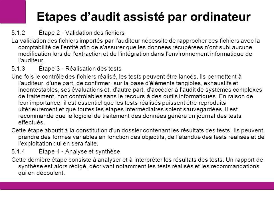 Etapes d'audit assisté par ordinateur