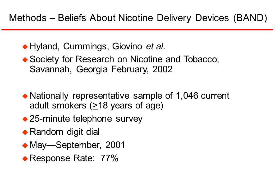 Methods – Beliefs About Nicotine Delivery Devices (BAND)