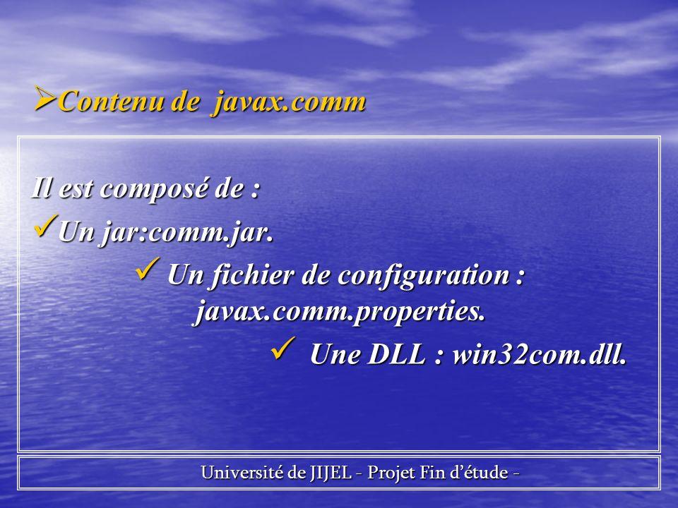 Un fichier de configuration : javax.comm.properties.