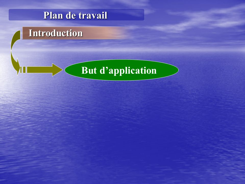 Plan de travail Introduction But d'application