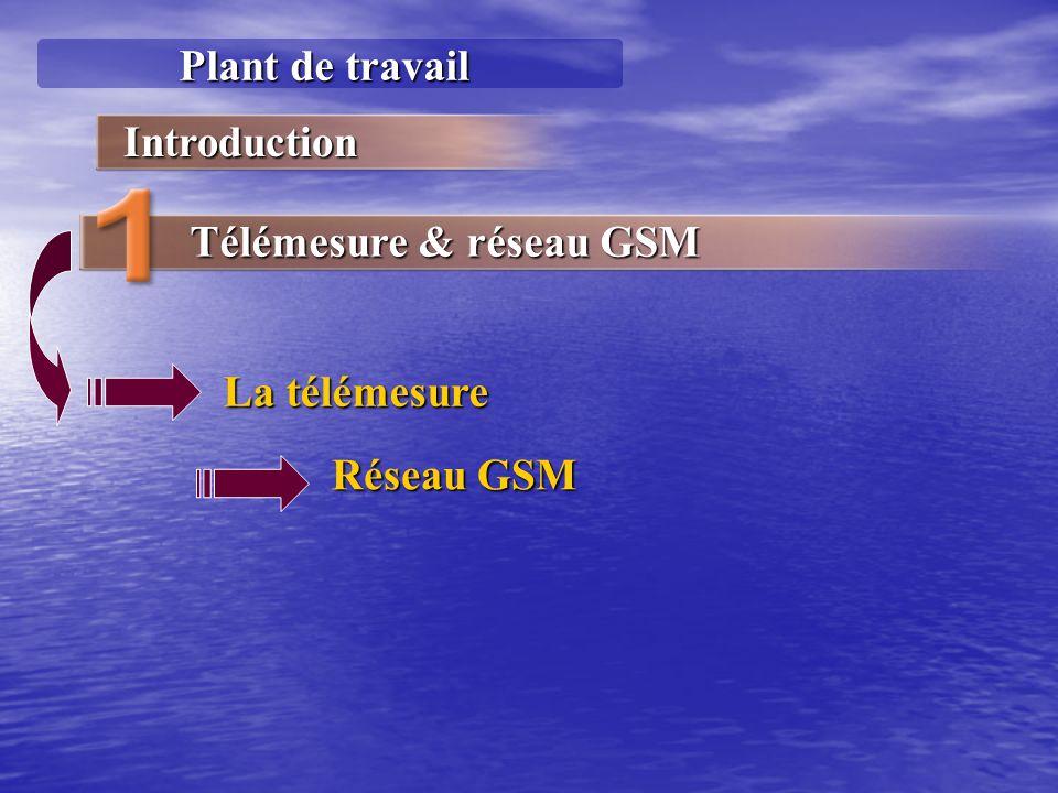 Plant de travail Introduction Télémesure & réseau GSM La télémesure Réseau GSM