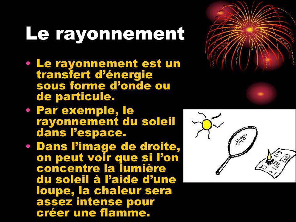 Le rayonnement Le rayonnement est un transfert d'énergie sous forme d'onde ou de particule. Par exemple, le rayonnement du soleil dans l'espace.