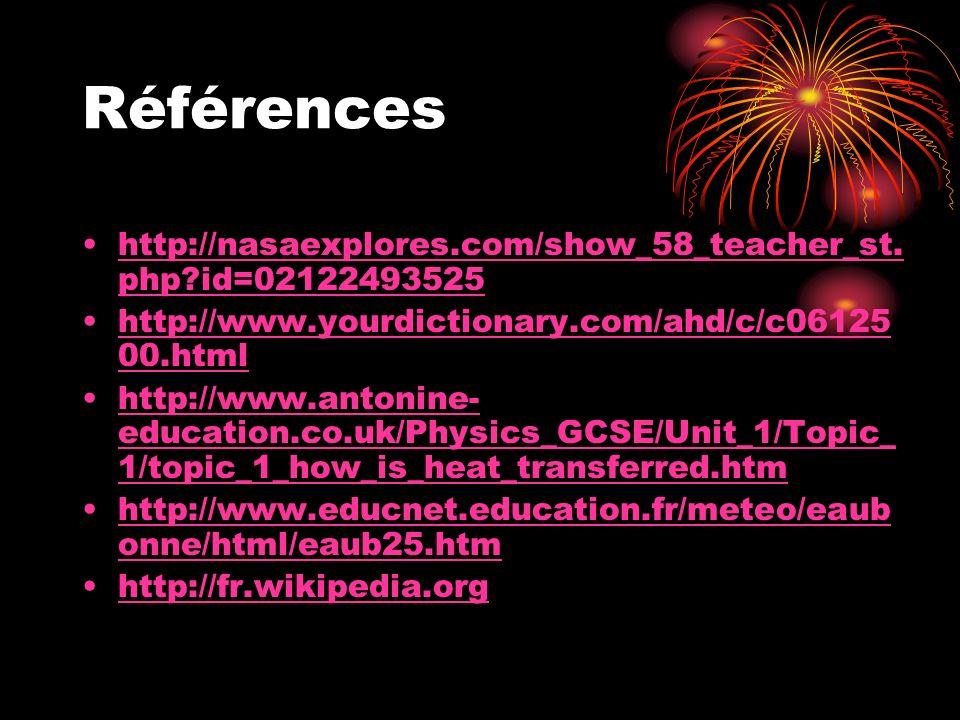 Références http://nasaexplores.com/show_58_teacher_st.php id=02122493525. http://www.yourdictionary.com/ahd/c/c0612500.html.