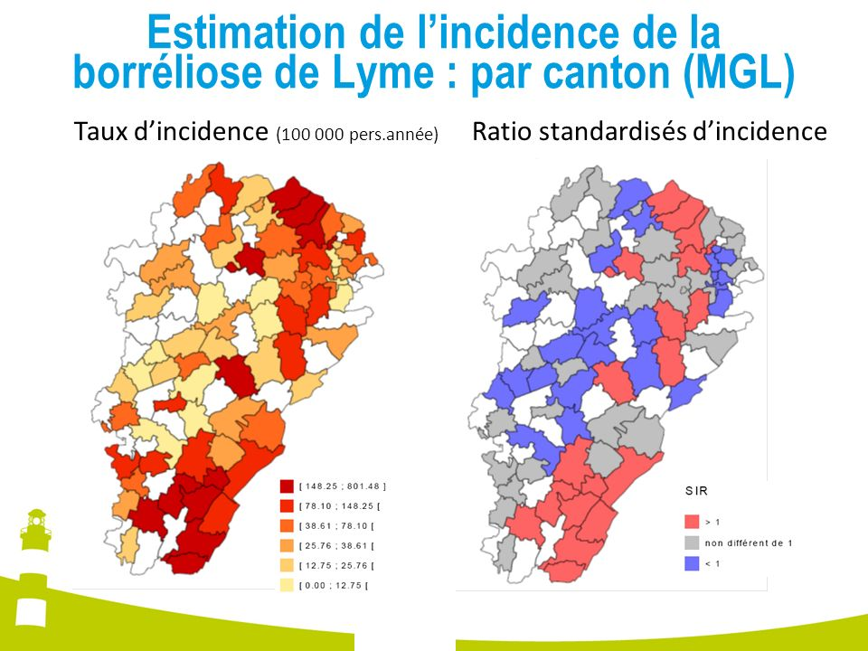 Estimation de l'incidence de la borréliose de Lyme : par canton (MGL)