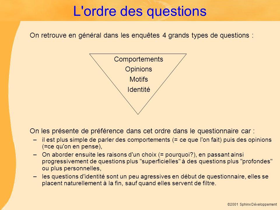 L ordre des questions On retrouve en général dans les enquêtes 4 grands types de questions : Comportements.