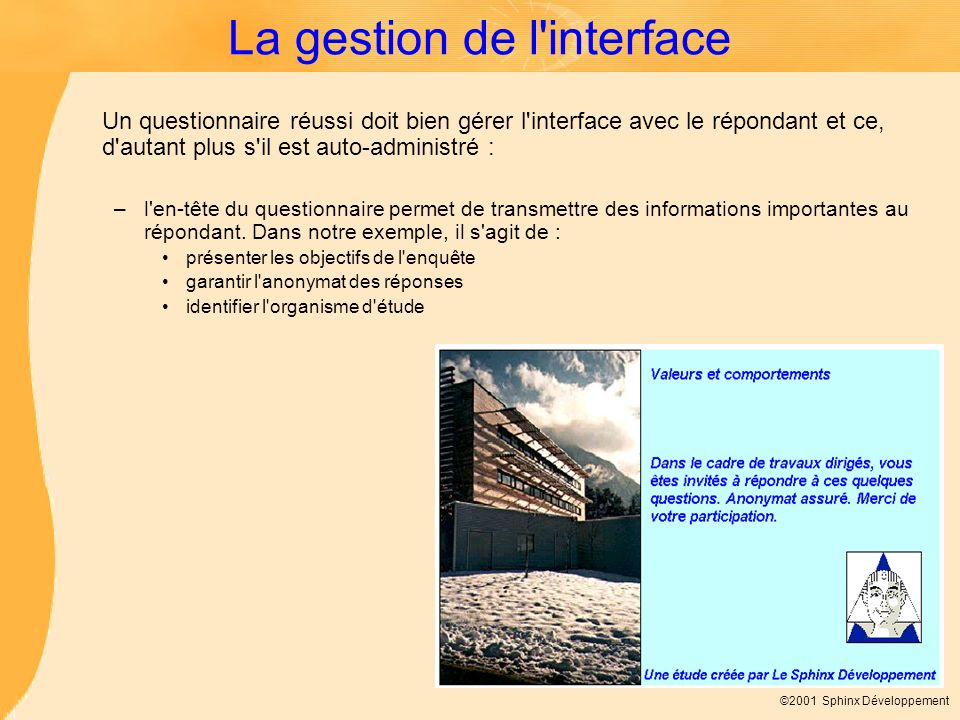 La gestion de l interface