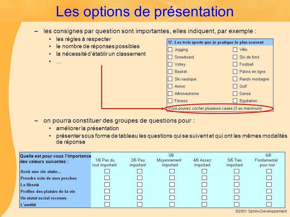 Les options de présentation