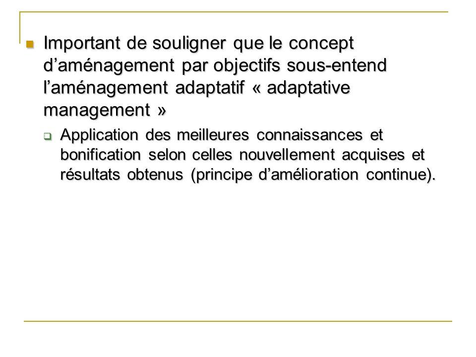 Important de souligner que le concept d'aménagement par objectifs sous-entend l'aménagement adaptatif « adaptative management »