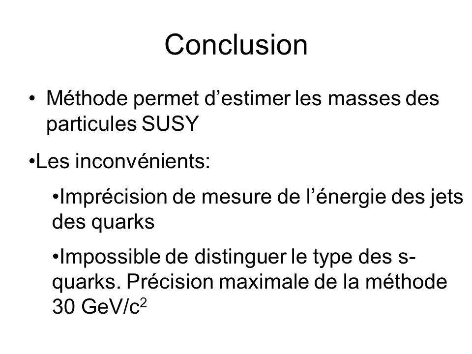 Conclusion Méthode permet d'estimer les masses des particules SUSY