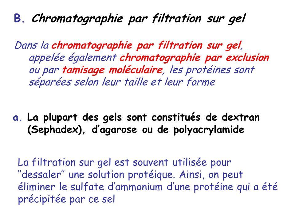 B. Chromatographie par filtration sur gel