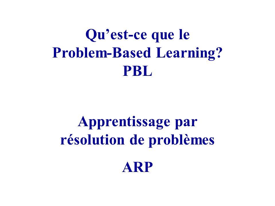 Problem-Based Learning Apprentissage par résolution de problèmes