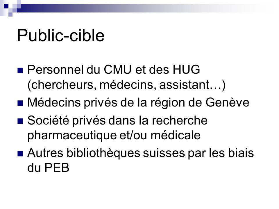 Public-cible Personnel du CMU et des HUG (chercheurs, médecins, assistant…) Médecins privés de la région de Genève.