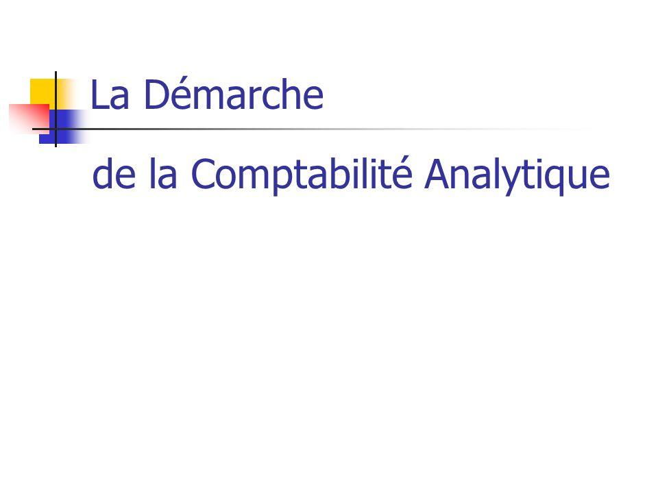 La Démarche de la Comptabilité Analytique