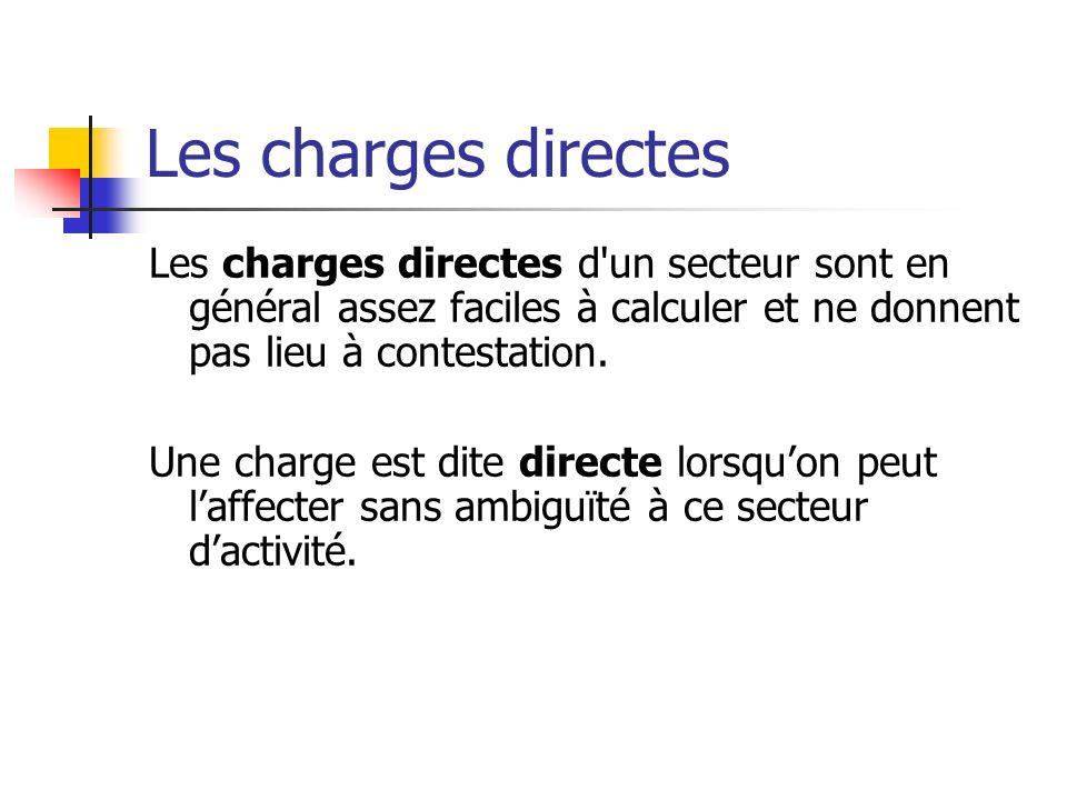 Les charges directes Les charges directes d un secteur sont en général assez faciles à calculer et ne donnent pas lieu à contestation.