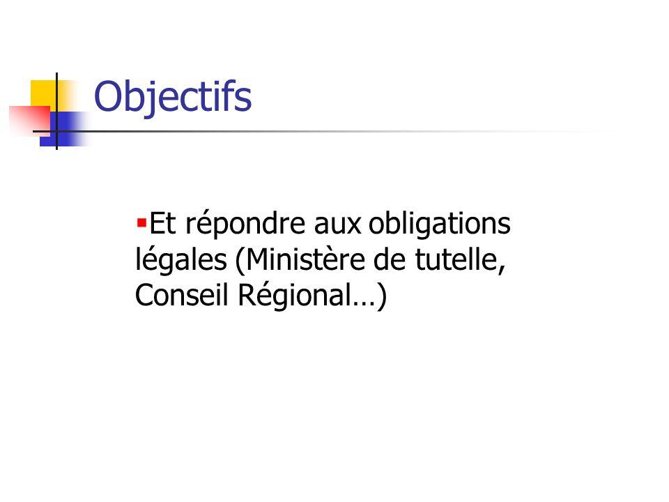Objectifs Et répondre aux obligations légales (Ministère de tutelle, Conseil Régional…)
