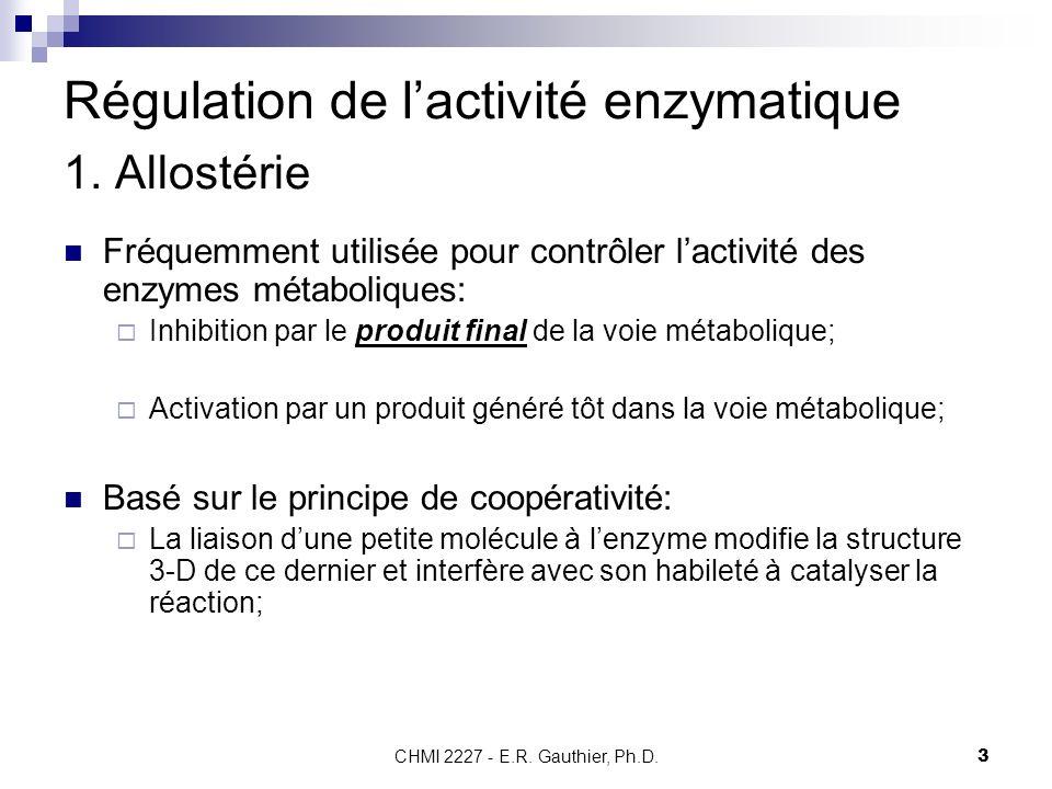 Régulation de l'activité enzymatique 1. Allostérie