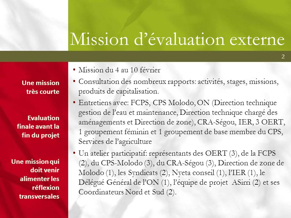Mission d'évaluation externe