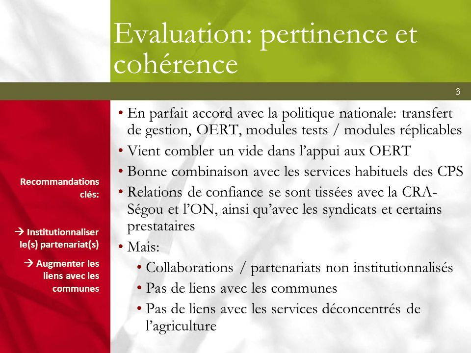 Evaluation: pertinence et cohérence