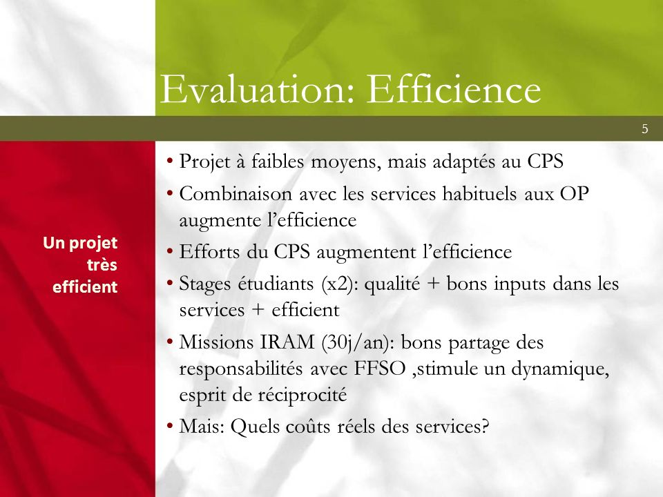 Evaluation: Efficience