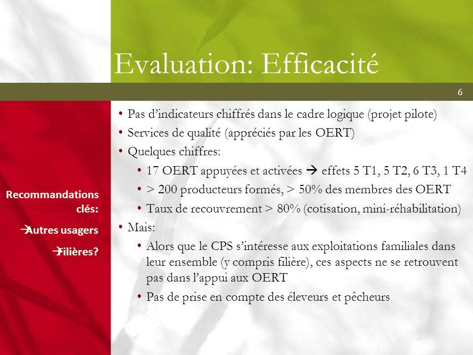 Evaluation: Efficacité
