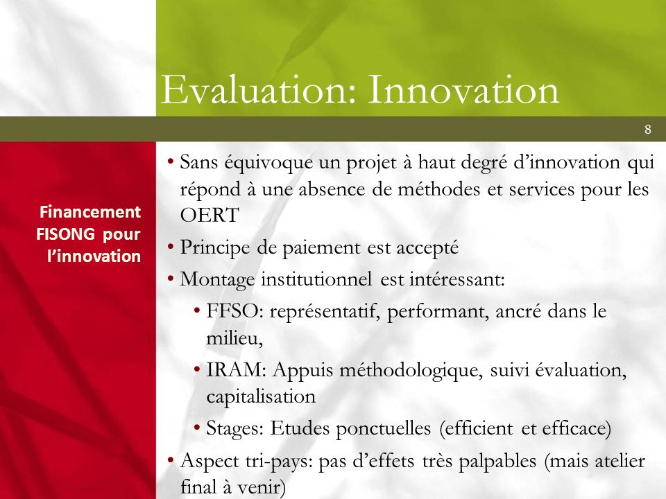 Evaluation: Innovation