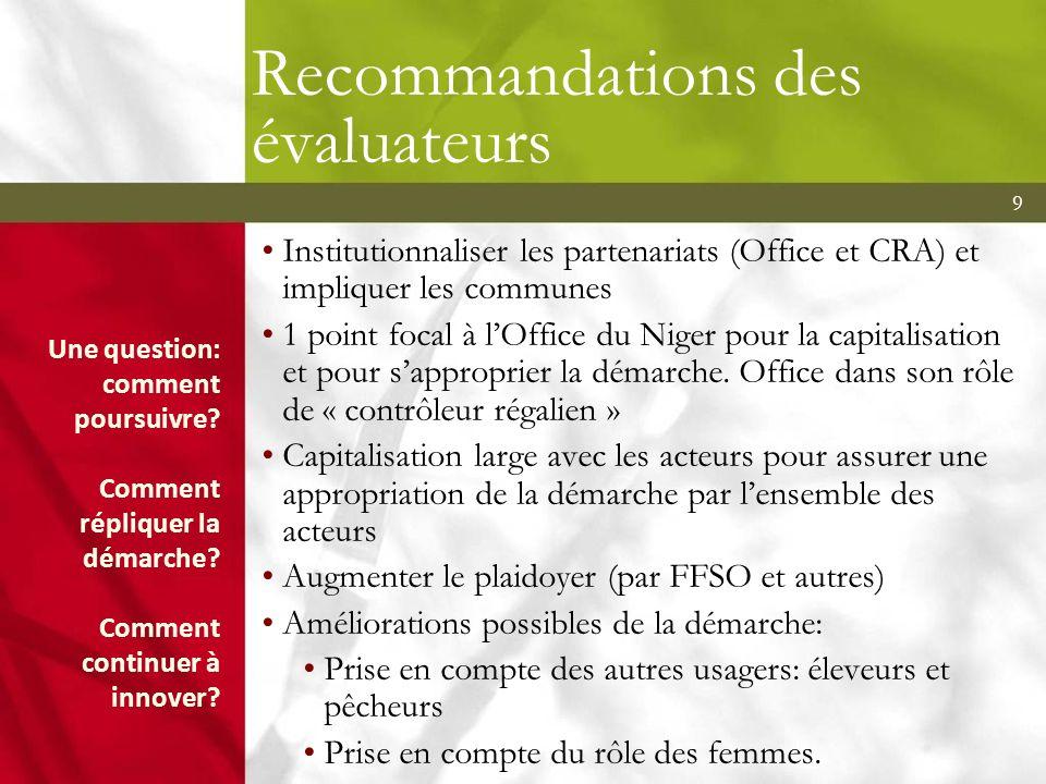 Recommandations des évaluateurs